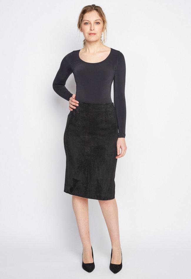 ZINGA Leather Real leather, suede long pencil skirt women black | Christina 4999