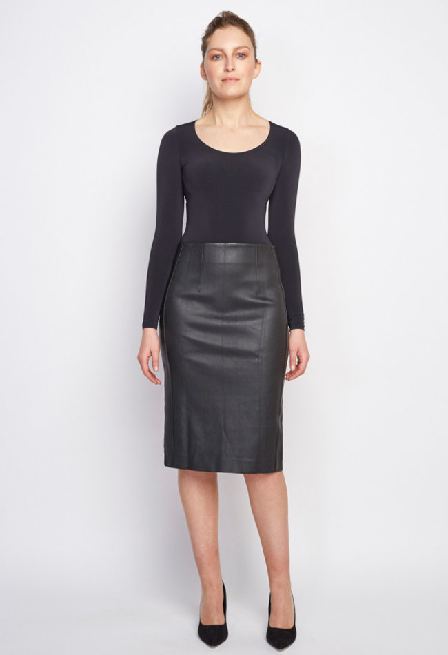 ZINGA Leather Real leather, long pencil skirt women black | Christina 6999