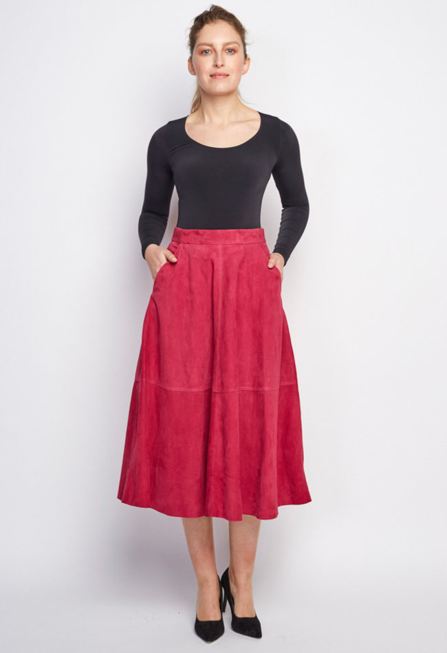ZINGA Leather Real leather, suede long skirt women Fucsia   Rosa 2610