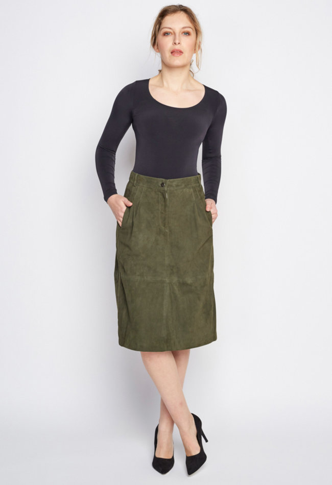 ZINGA Leather Real leather, suede pencil skirt women green | Maria 2210