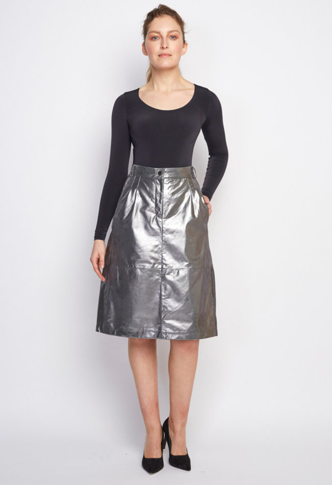 ZINGA Leather Real leather, metallic suede pencil skirt ladies silver | Maria 9999