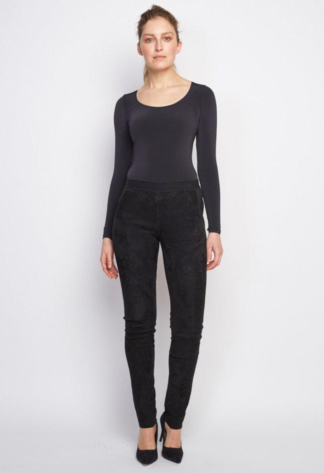ZINGA Leather Echtes Leder, Wildleder legging Frauen schwarz | Uma 4999