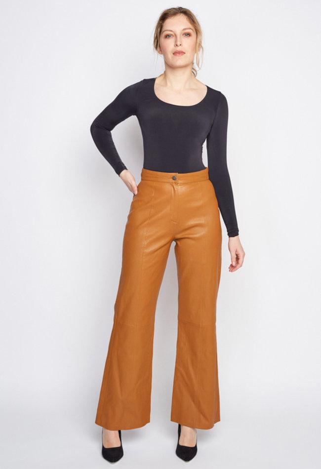 ZINGA Leather Real leather pant women cognac | Nora 6500