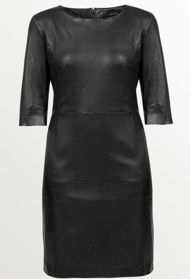 ZINGA Leather Jurk echt leer dames zwart | Ava 6999