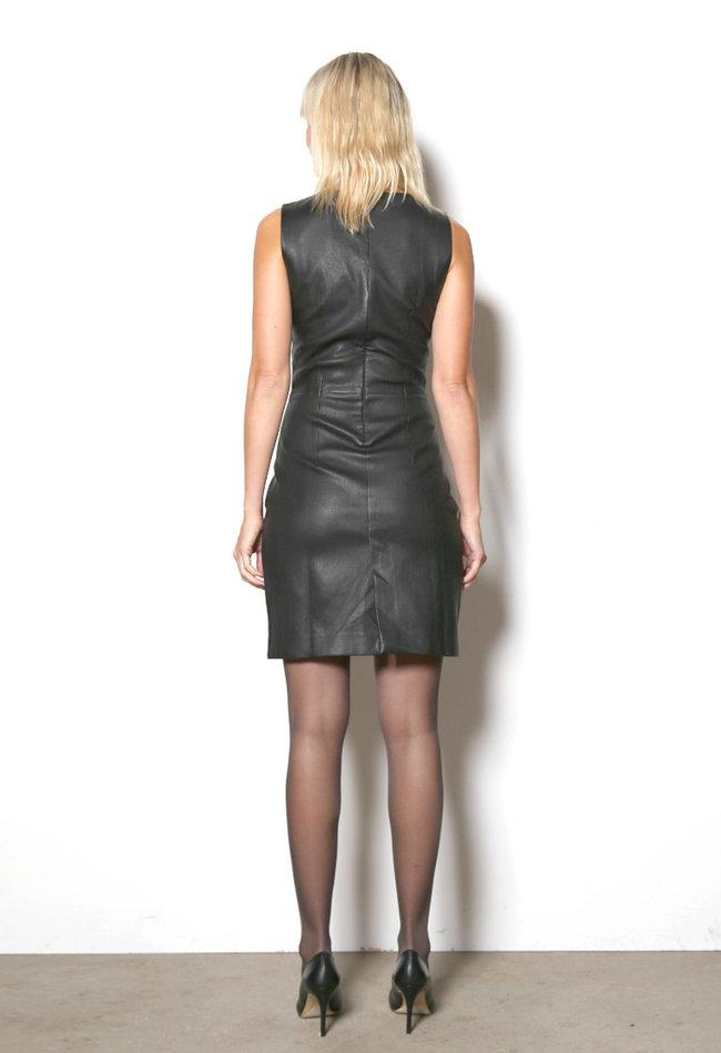 ZINGA Leather Echt Leder Kleid damen Schwartz | Sabine 6999