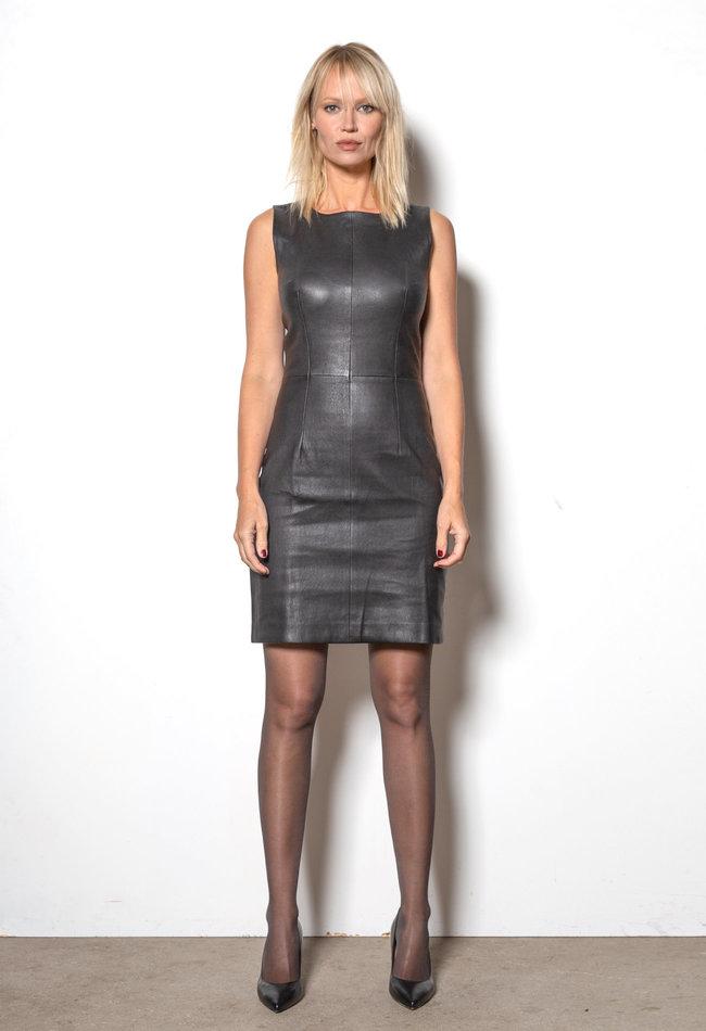 ZINGA Leather Jurk echt leer dames zwart   Sabine 6999