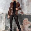 ZINGA Leather DAMENLEDERBLAZER IN BRAUN MIT PYTHON-OPTIK | KATE 7116