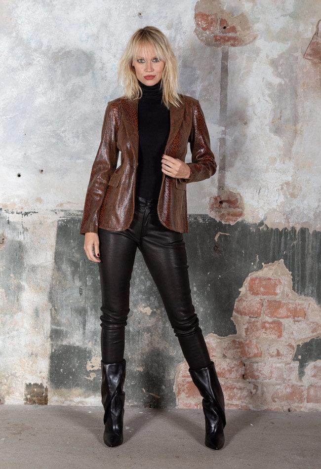 ZINGA Leather Echtes Leder, Python Blazer Frauen braun | Kate 7116