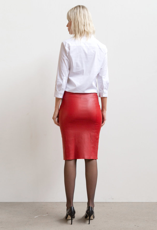ZINGA Leather Real leather pencil skirt women red | Coco 6400