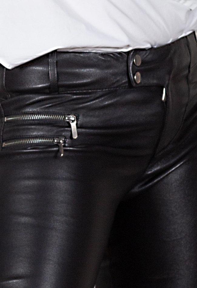 ZINGA Leather BIKER LEDERHOSE DAMEN IN SCHWARZ AUS GLATTLEDER   VANESSA 6999