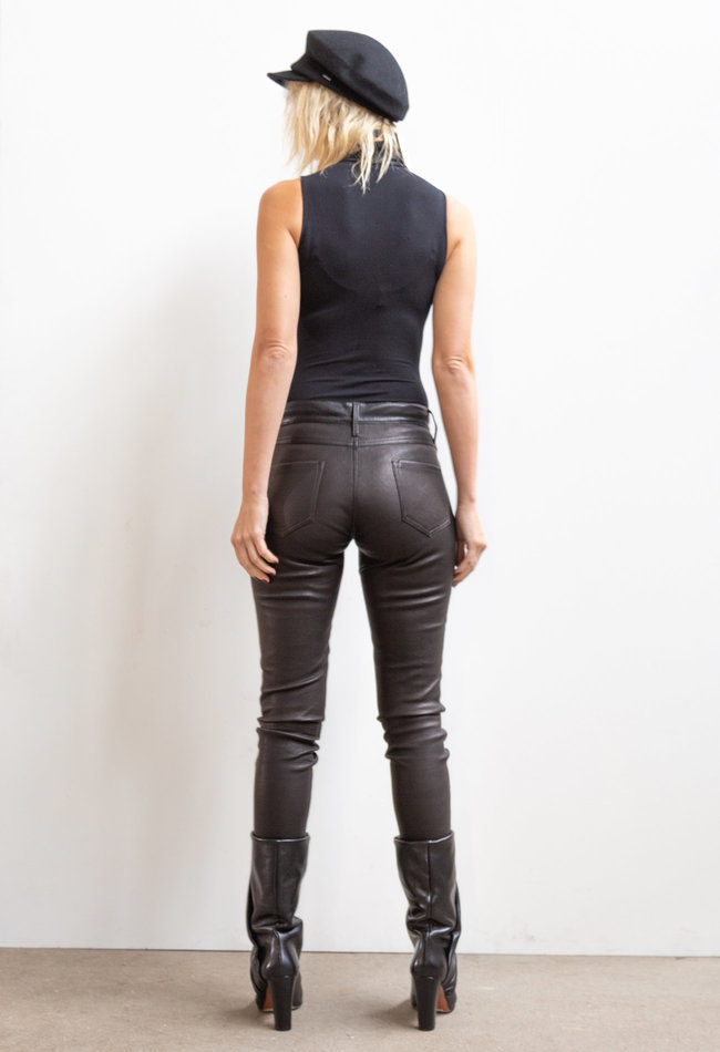 ZINGA Leather Real leather pant women black | Amalia 6999