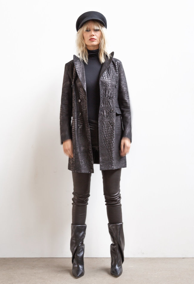 ZINGA Leather Echt leer, suede croco blazer dames zwart | Helena 3999