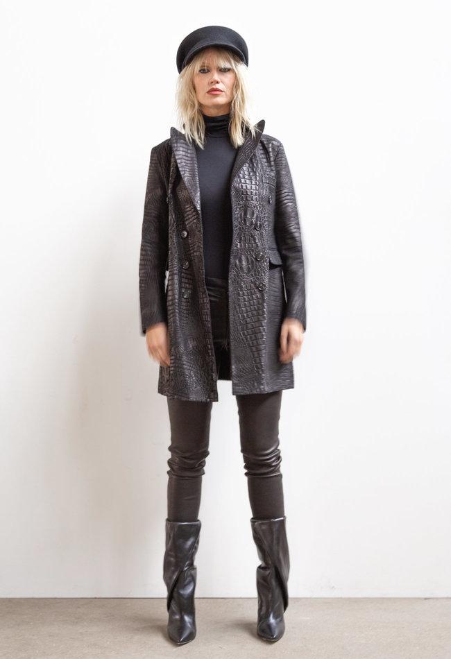 ZINGA Leather Real leather, suede croco blazer women black | Helena 3999