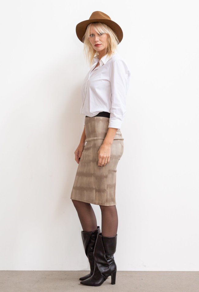ZINGA Leather Real leather pencil skirt women batik | Coco 6101