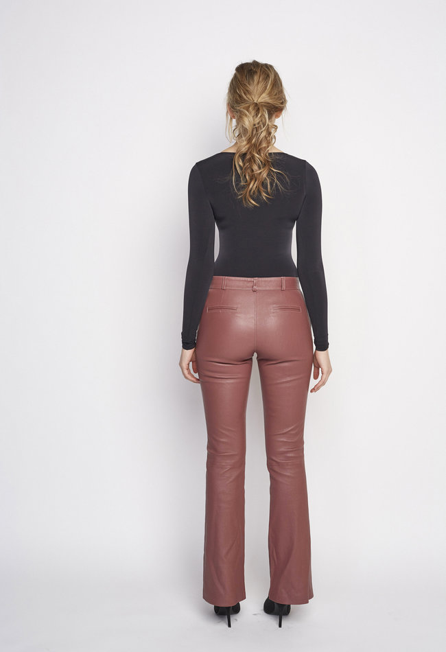 ZINGA Leather Flare pant real leather women Quartz | Flo 6230