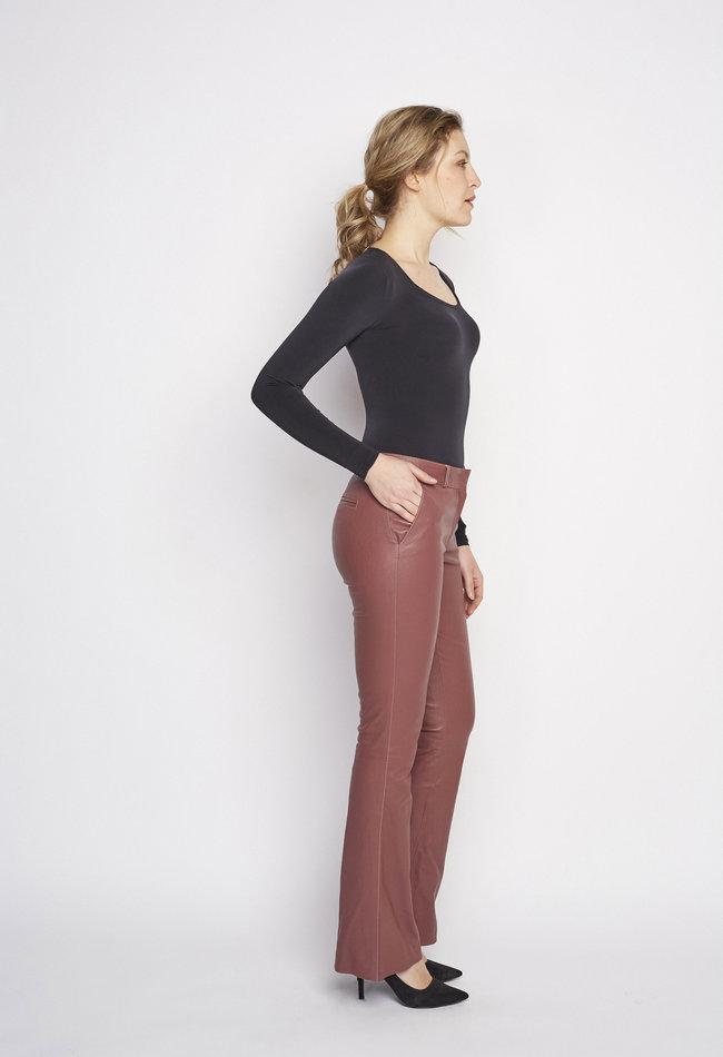 ZINGA Leather Flare broek echt leer dames Quartz | Flo 6230