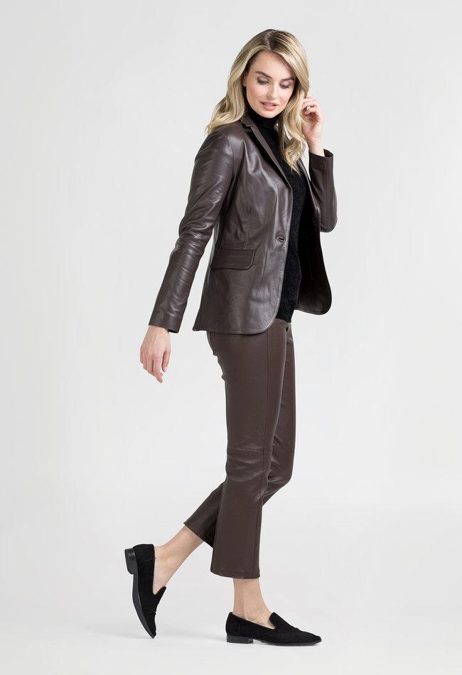 ZINGA Leather Real leather, ladies blazer brown | Kate 5116