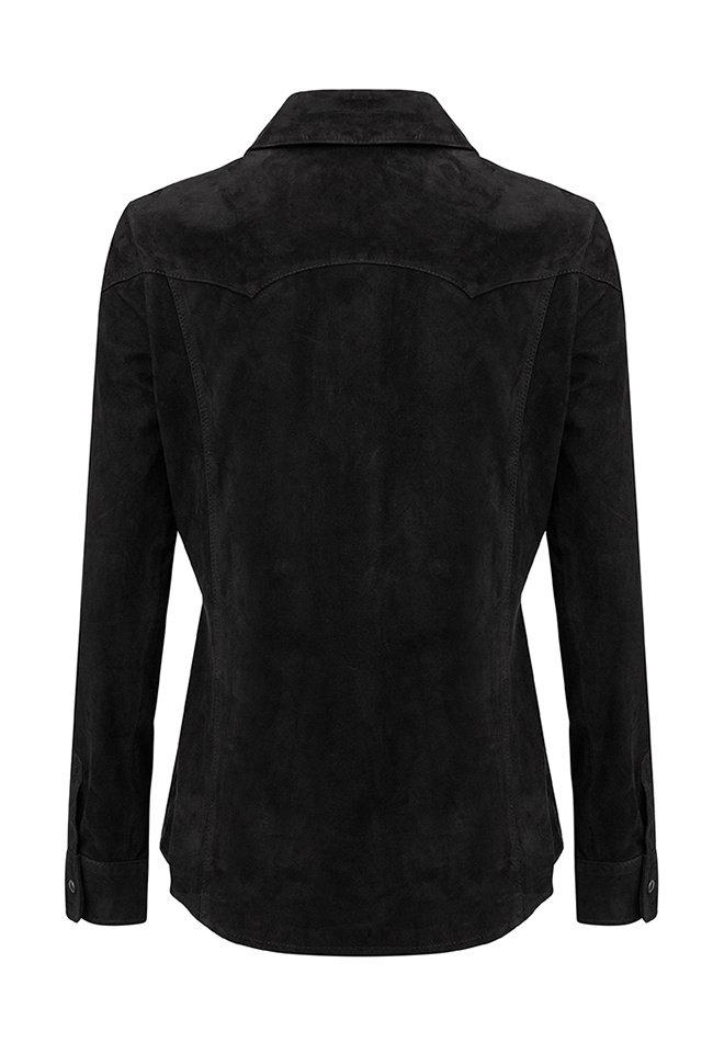 ZINGA Leather Echt leer, suede blouse dames zwart | Anna 2999
