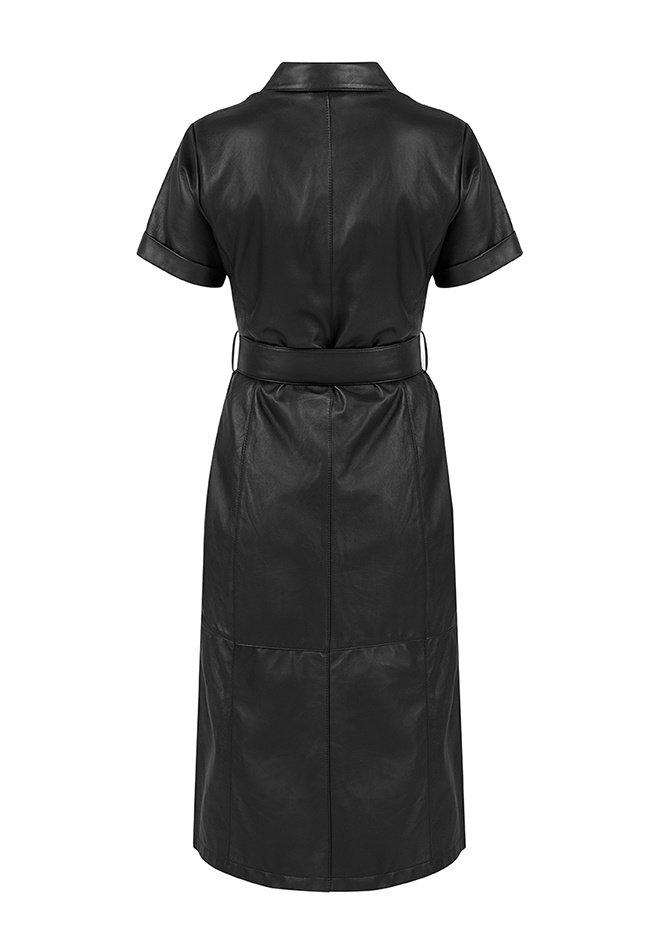 ZINGA Leather Blusenkleid aus Nappa in Schwarz   Suze 5999