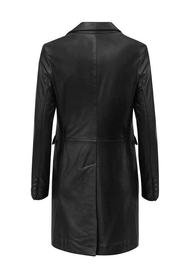 ZINGA Leather Real leather blazer women black | Helena 5999