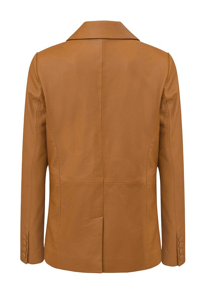ZINGA Leather Real leather blazer ladies cognac | Julia 5300