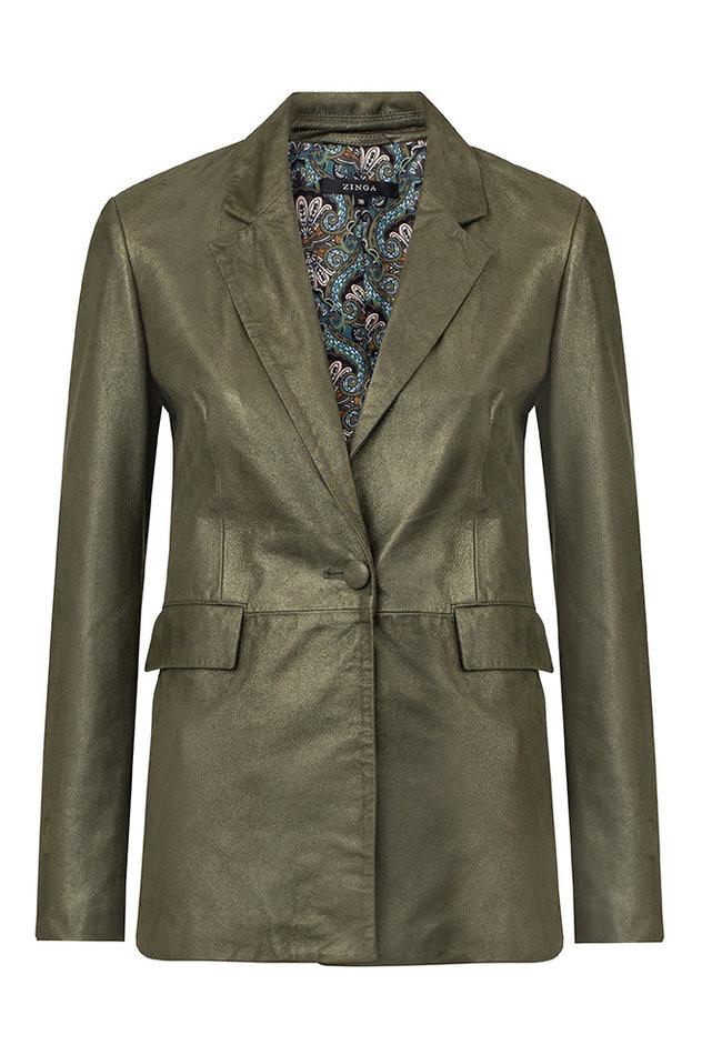 ZINGA Leather Real leather, suede metallic blazer ladies green | Julia 9210