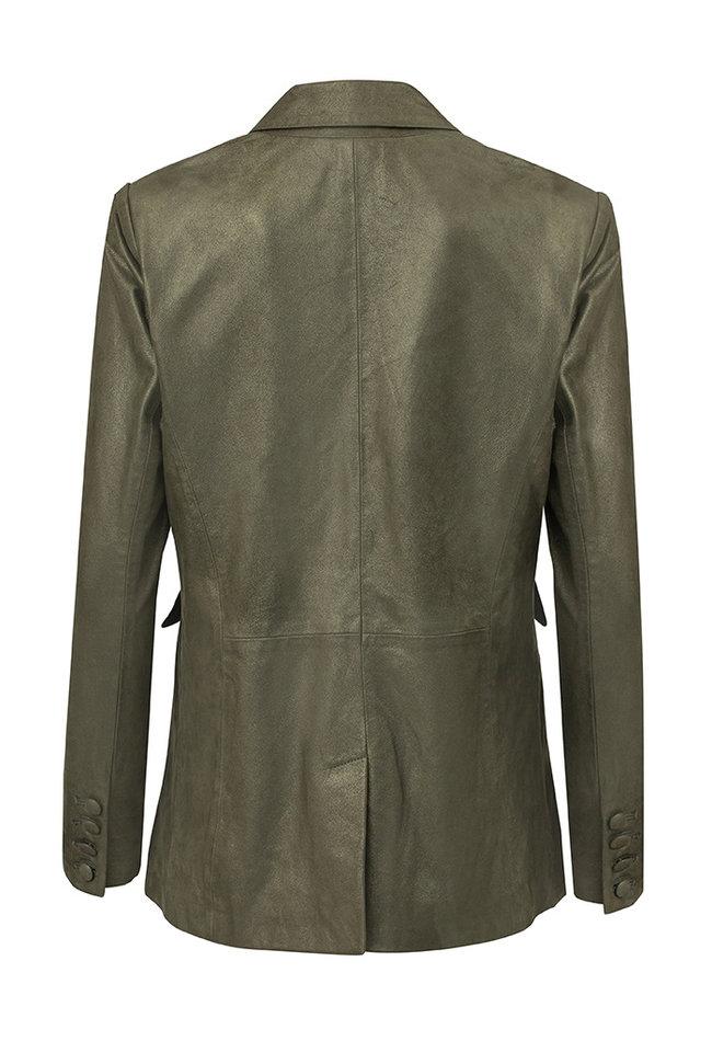 ZINGA Leather Echt leer, suede metallic blazer dames groen | Julia 9210
