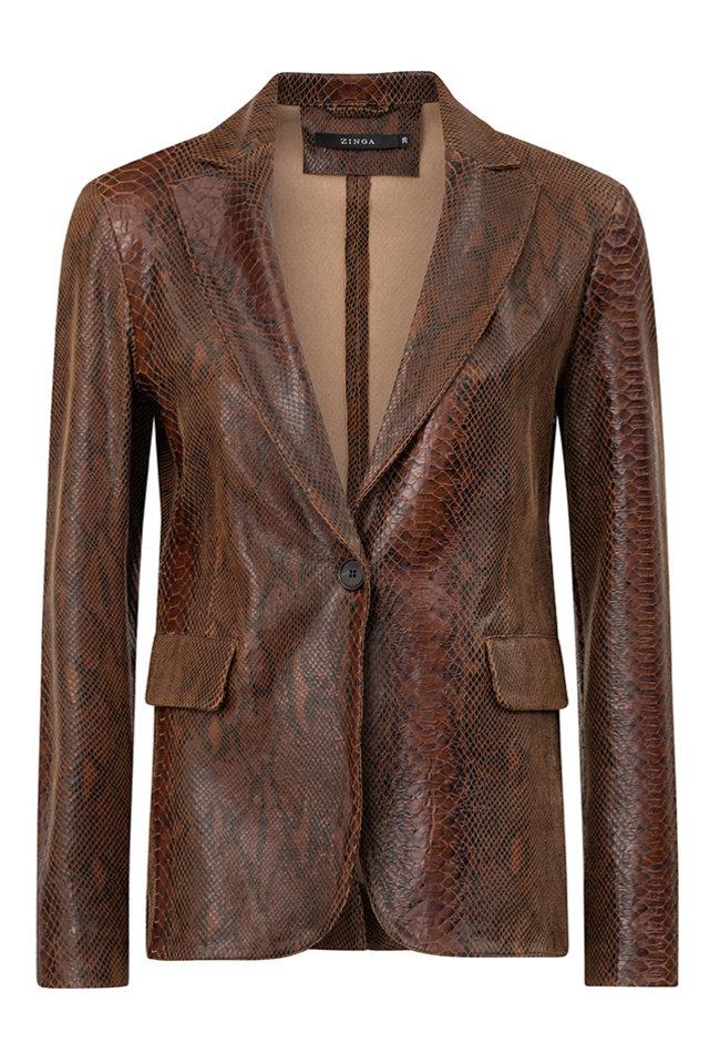 ZINGA Leather Real leather, python blazer women brown | Kate 7116