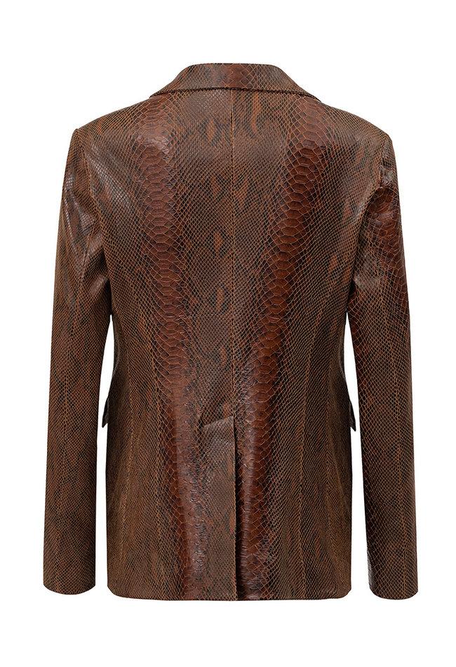 ZINGA Leather Echt leren python blazer dames bruin   Kate 7116