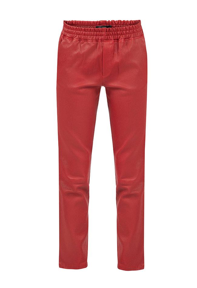 ZINGA Leather Boyfriend pant real leather women red | Noah 6400