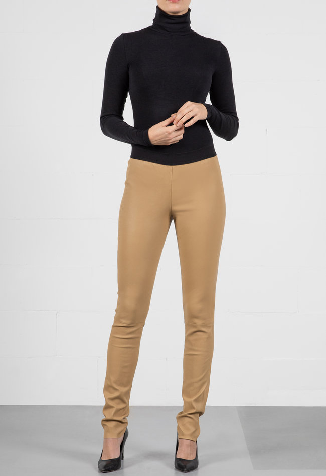 ZINGA Leather Real leather leggings women ecru | Uma 6334