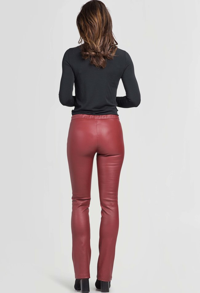ZINGA Leather Flare pants real leather women Syrah Red | Gaby 6700