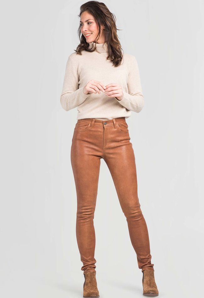 ZINGA Leather Real leather pant women cognac vegetabel | Amalia 1308