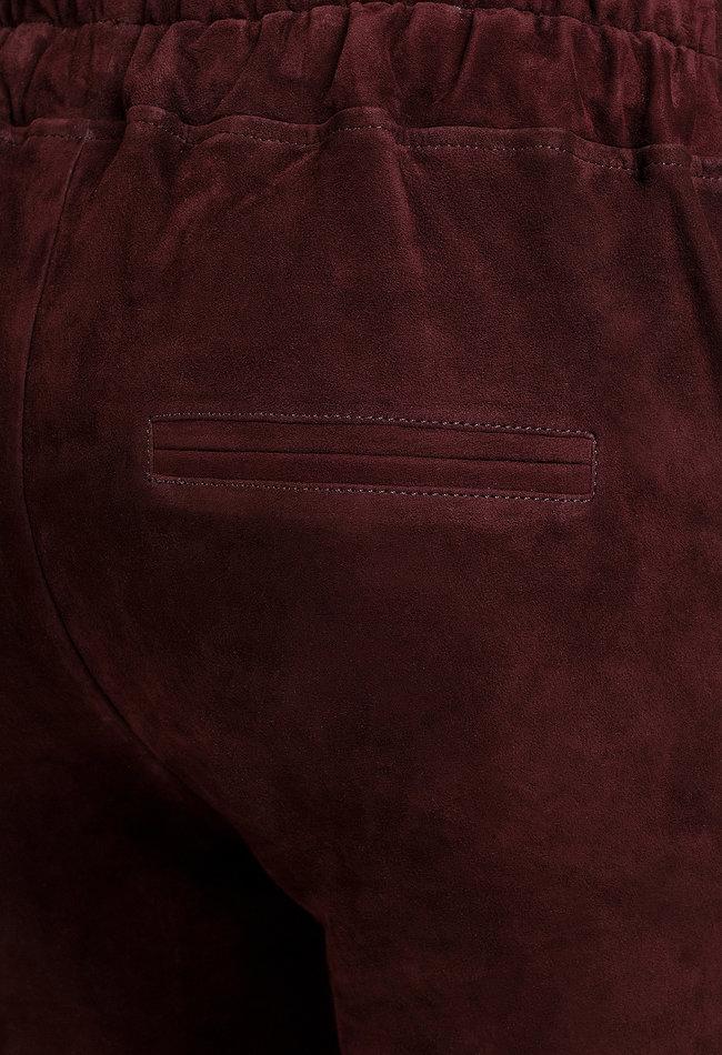 ZINGA Leather Boyfriend broek bordeaux suède, echt leer dames   Noah 4521