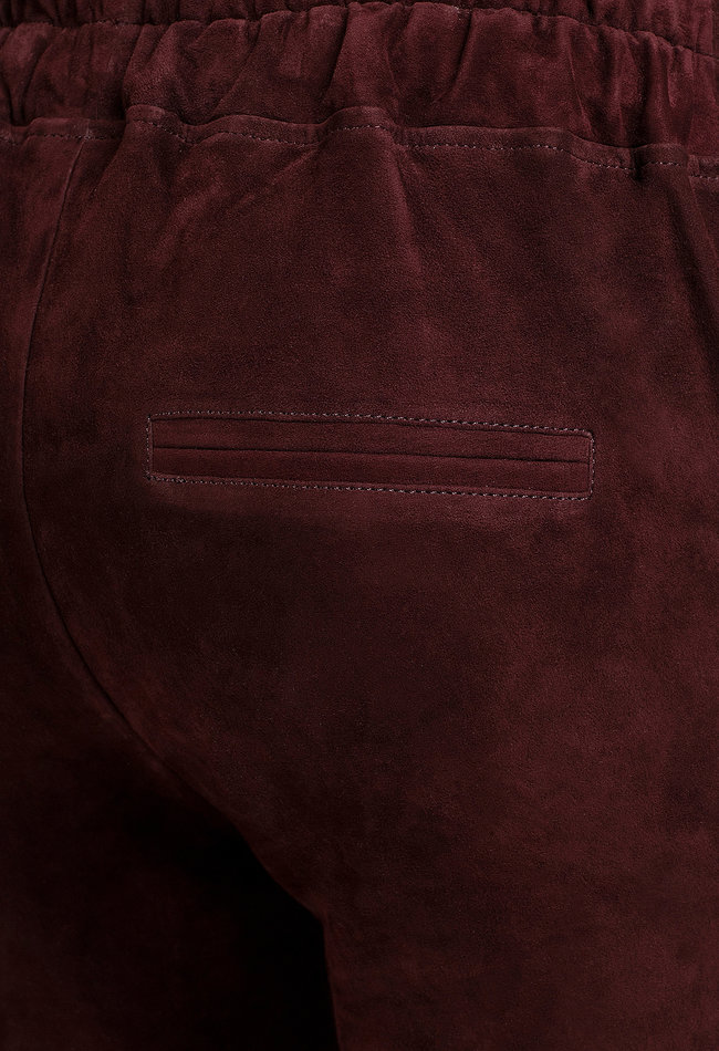 ZINGA Leather Boyfriend Hose Burgunder Wildleder, Damen aus echtem Leder | Noah 4521