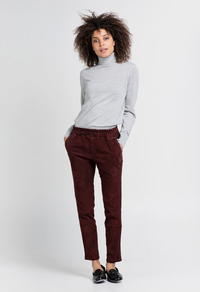 ZINGA Leather Boyfriend pants burgundy suede, real leather ladies | Noah 4521