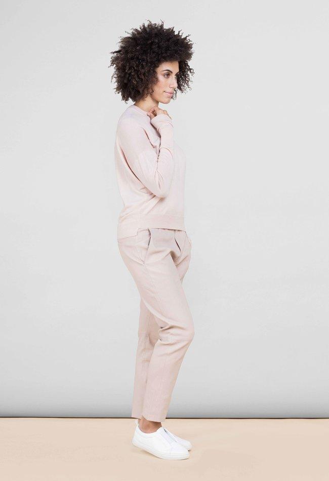 ZINGA Leather Boyfriend broek echt leer dames pink blush | Noah 6248