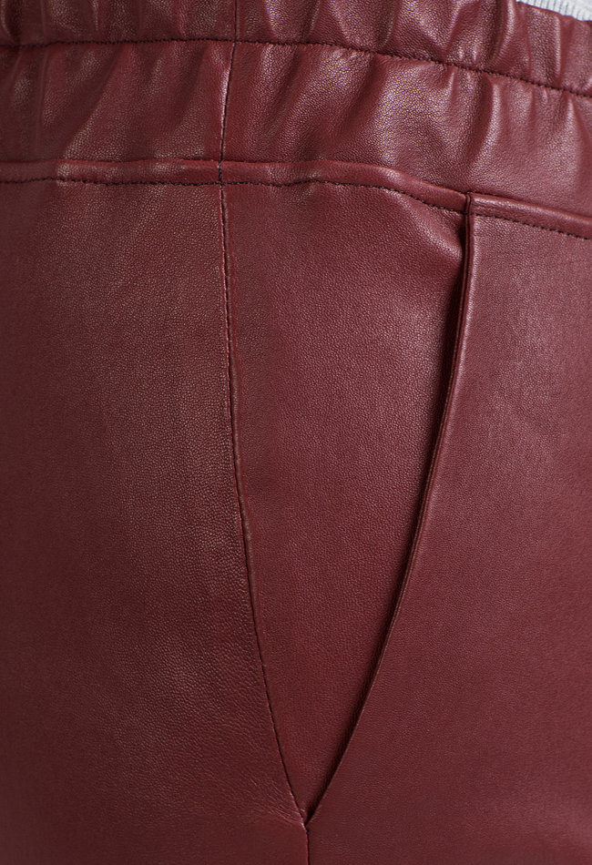 ZINGA Leather Freund Hose echte Leder Frauen Wein Farbe | Noah 6700