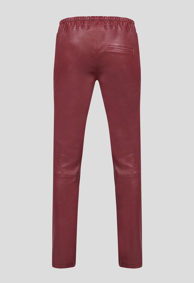 ZINGA Leather Boyfriend broek echt leer dames wijnkleur | Noah 6700