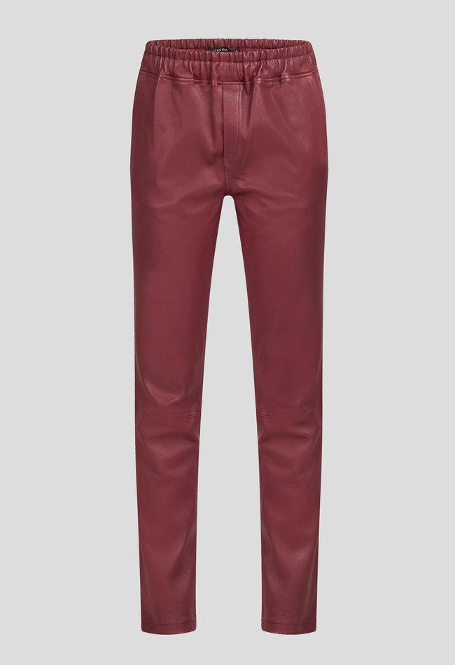 ZINGA Leather Boyfriend pant real leather women wine color | Noah 6700