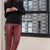 ZINGA Leather Real leather legging women wine | Uma 6700