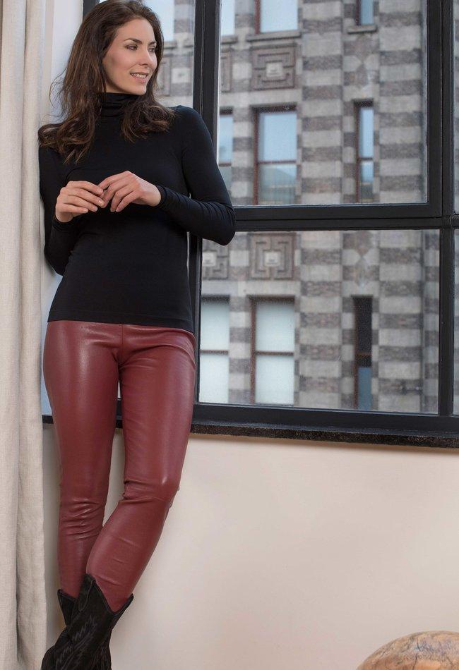 ZINGA Leather Real leather legging women wine | Uma 6700