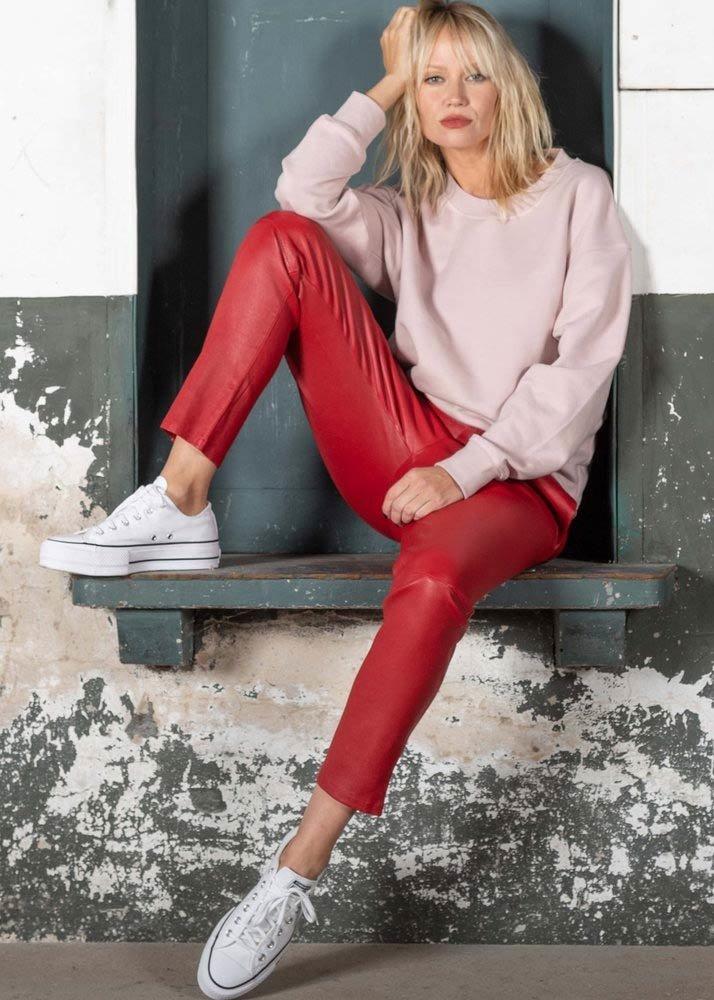 ZINGA Leather Boyfriend broek echt leer dames rood   Noah 6400