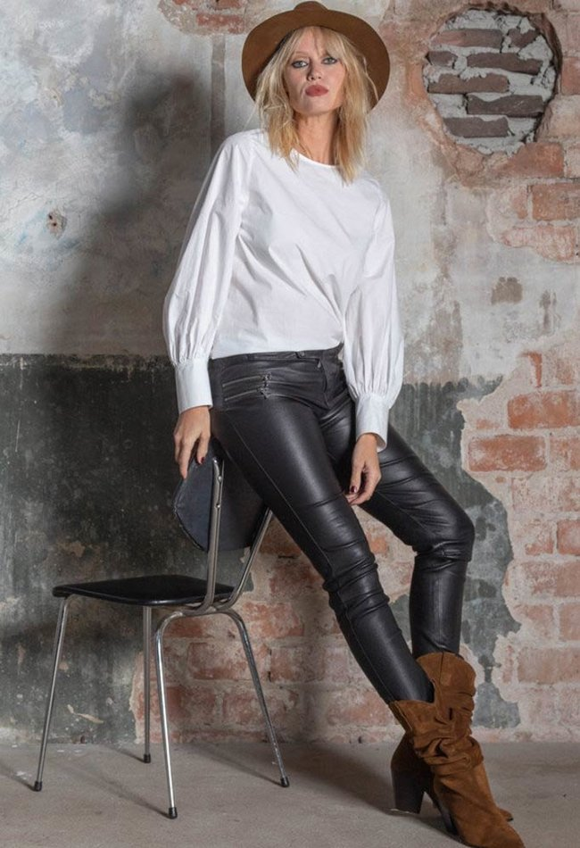 ZINGA Leather Echt leer  biker legging dames zwart | Vanessa 6999