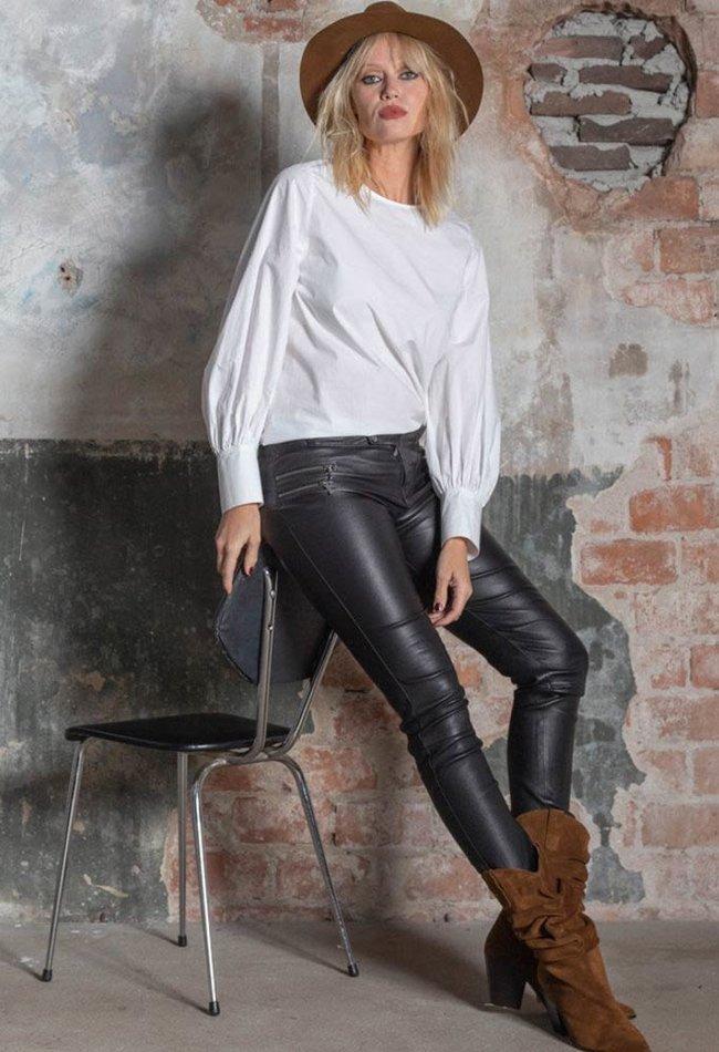 ZINGA Leather Real leather biker legging women black | Vanessa 6999