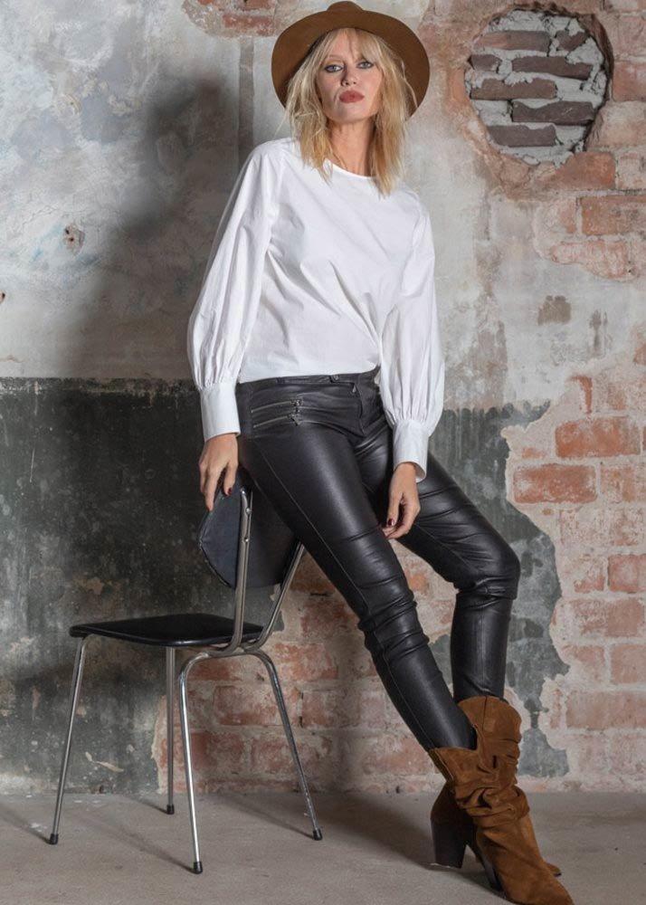 ZINGA Leather BIKER LEDERHOSE DAMEN SCHWARZ | GLATTLEDER | VANESSA 6999