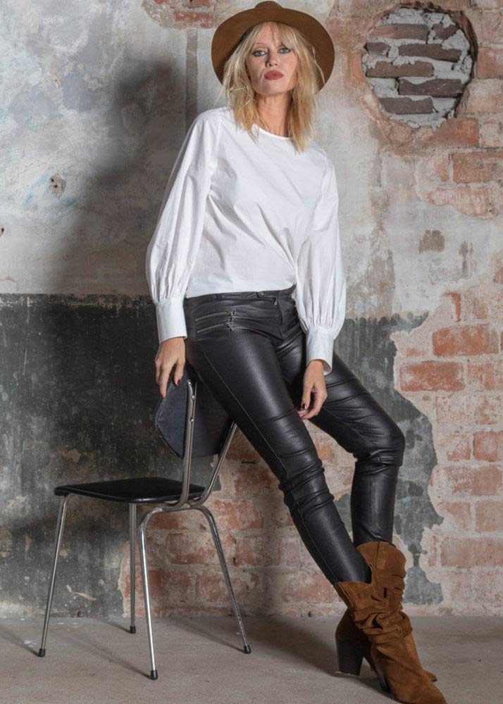 ZINGA Leather Echt leer biker legging dames zwart   Vanessa 6999