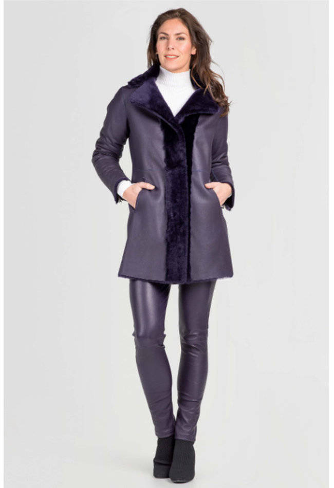 ZINGA Leather Real reversible lambskin coat women purple | Angela 7100
