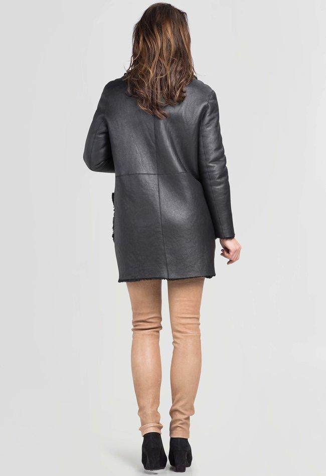 ZINGA Leather Reversible lamb leather jacket ladies black   Deborah 8999