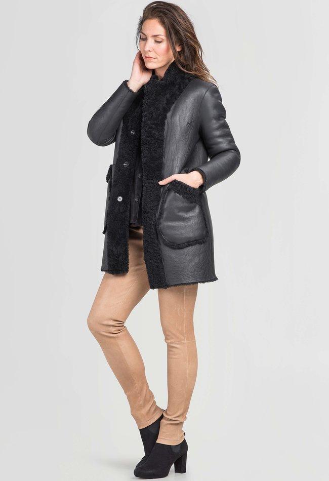 ZINGA Leather Omkeerbaar lamsleren jack dames zwart | Deborah 8999